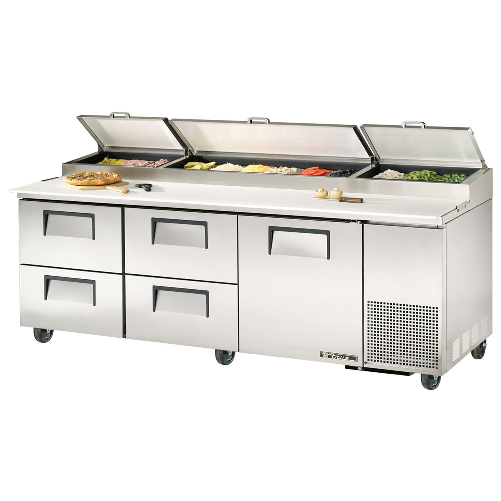 "True TPP-93D-4 93"" Pizza Prep Table w/ Refrigerated Base, 115v"