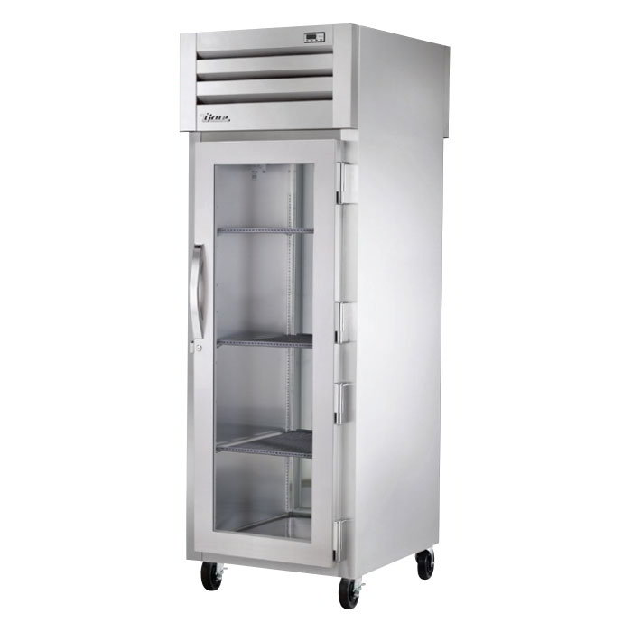 "True STR1HPT-1G-1S 28"" Pass-Thru Heated Cabinet - 1-Glass/1-Solid Door, All Stainless"