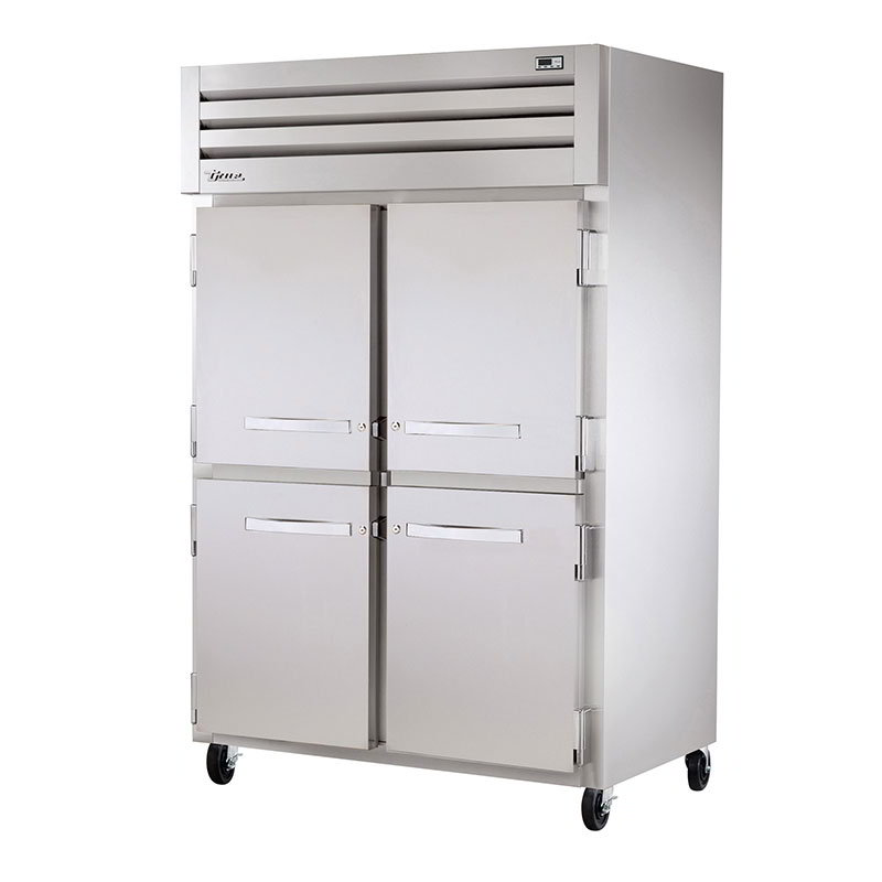 "True STR2HRT-2S-2S 68"" Roll-Thru Heated Cabinet - 4-Solid Doors, All Stainless"