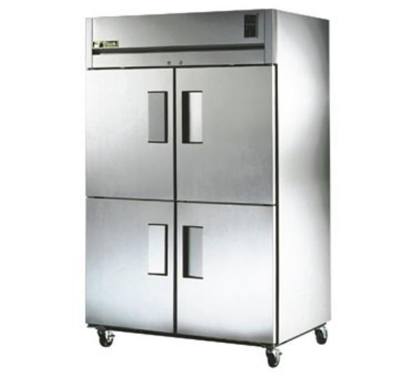 True TR2R-4HS Refrigerator, Reach-In, 2 Section, 4 SS Half Doors, 56 cu ft