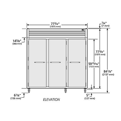 """True STR3R-3S 77.75"""" Three Section Reach-In Refrigerator, (3) Solid Door, 115v"""