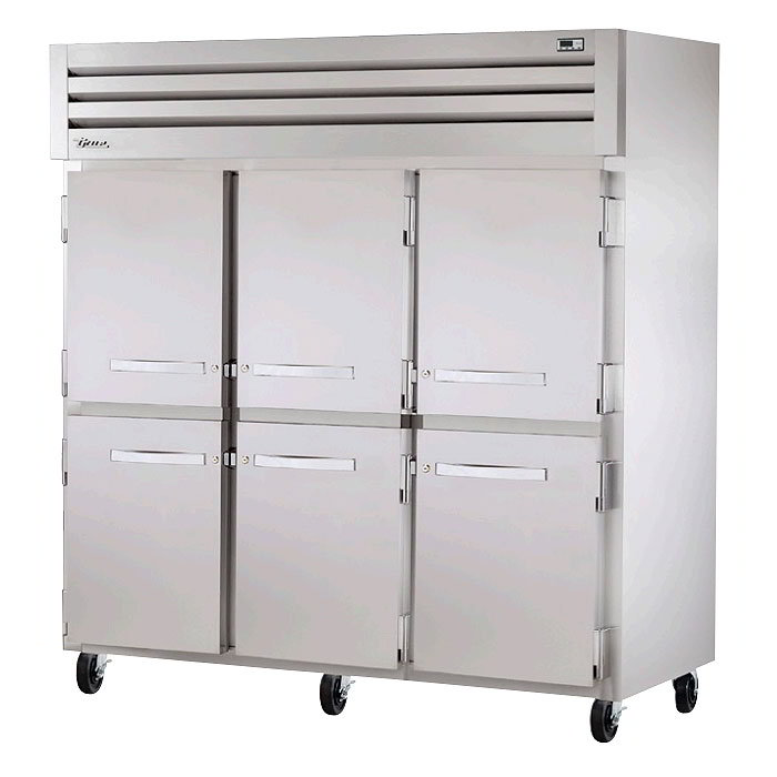 "True STR3R-6HS 77.75"" Three Section Reach-In Refrigerator, (6) Solid Door.115v"