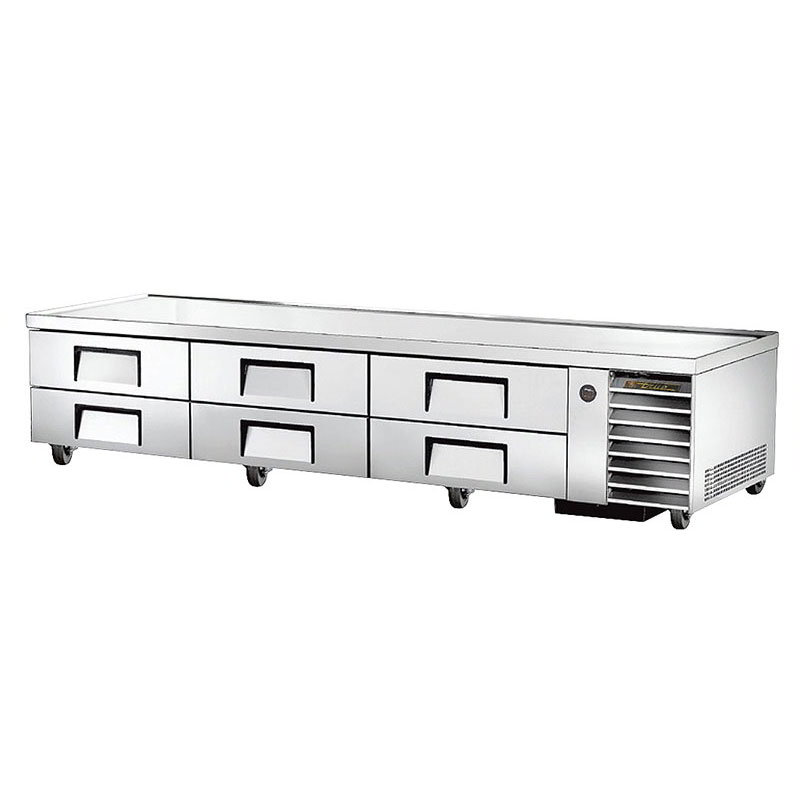 "True TRCB-110 110"" Chef Base w/ (6) Drawers - 115v"