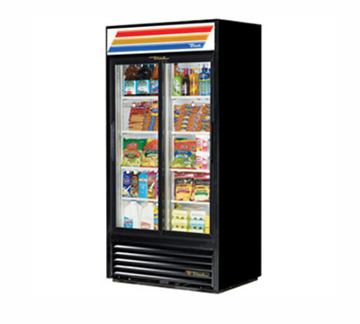 "True GDM-33-LD 39.5"" Two-Section Refrigerated Display w/ Sliding Doors, Bottom Mount Compressor, 115v"