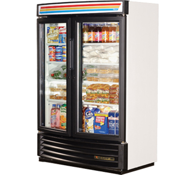 "True GDM-35SL-RF-LD 39.75"" Two-Section Refrigerated Display w/ Sliding Doors, Bottom Mount Compressor, 115v"
