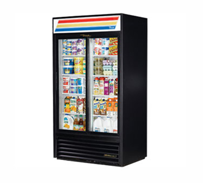 "True GDM-37-LD 44"" Two-Section Refrigerated Display w/ Sliding Doors - Bottom Mount Compressor, 115v"