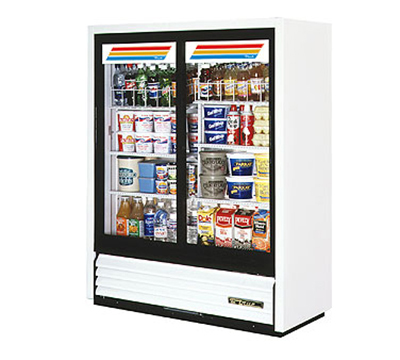 "True GDM-41SL-60-LD 48"" Two-Section Refrigerated Display w/ Sliding Doors, Bottom Mount Compressor, 115v"