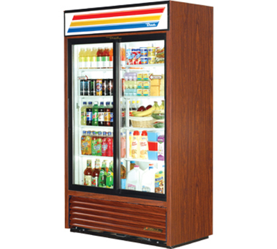 "True GDM-41SL-LD 47.13"" Two-Section Refrigerated Display w/ Sliding Doors, Bottom Mount Compressor, 115v"