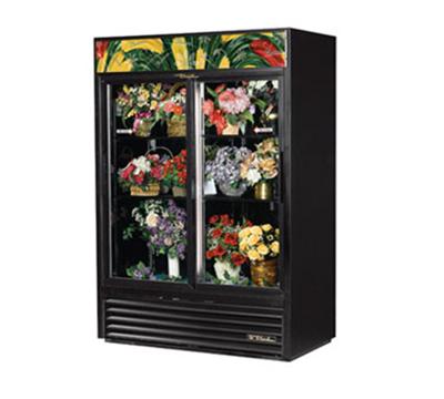 True GDM-47FC-LD 2-Section Floral Cooler w/ Sliding Door - Black, 115v