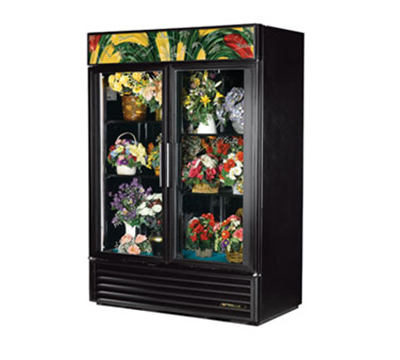 True GDM-49FC-LD 2-Section Floral Cooler w/ Swinging Door - Black, 115v