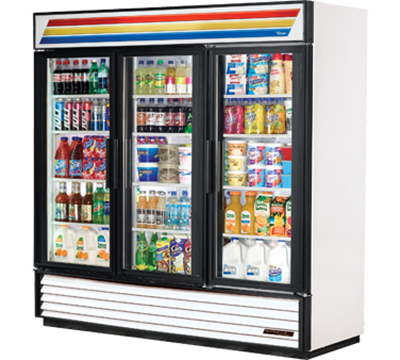 "True GDM-72-LD 79"" Three-Section Refrigerated Display w/ Swing Doors, Bottom Mount Compressor, 115v"