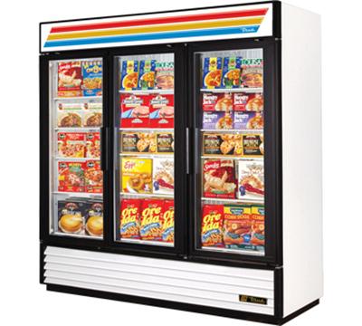 "True GDM-72F-LD 78.13"" Three-Section Display Freezer w/ Swinging Doors - Bottom Mount Compressor, 115v"