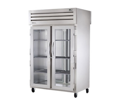 "True STG2RPT-2G-2S 53"" Two Section Pass-Thru Refrigerator, (2) Glass Door, 115v"