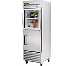 "True T-23-1-G-1 27"" Single Section Reach-In Refrigerator, (1) Solid Door (1) Glass Door, 115v"