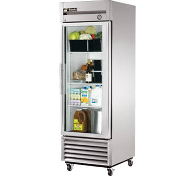 "True T-23G 27"" Single Section Reach-In Refrigerator, (1) Glass Door, 115v"