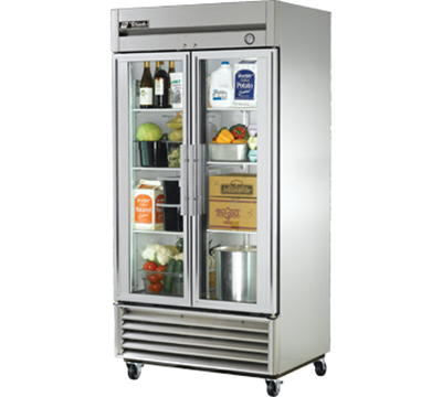 """True T-35G 39.5"""" Two Section Reach-In Refrigerator, (2) Glass Door, 115v"""