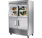 "True T-49-2-G-2 54"" Two Section Reach-In Refrigerator, (2) Glass & (2) Solid Door, 115v"