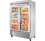 "True T-49FG 54.13"" Two Section Reach-In Freezer, (2) Glass Doors, 115v"