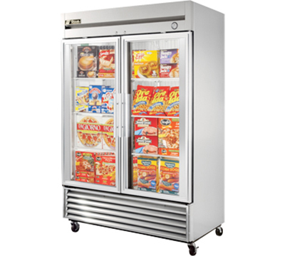 """True T-49FG 54.13"""" Two Section Reach-In Freezer, (2) Glass Doors, 115v"""