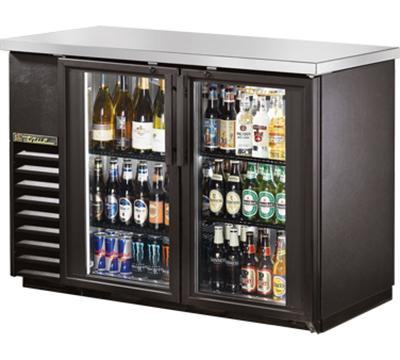"True TBB-24-48G-LD 48"" (2) Section Bar Refrigerator - Swinging Glass Doors, 115v"