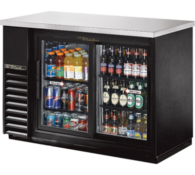 "True TBB-24-48G-SD-LD 48"" (2) Section Bar Refrigerator - Sliding Glass Doors, 115v"