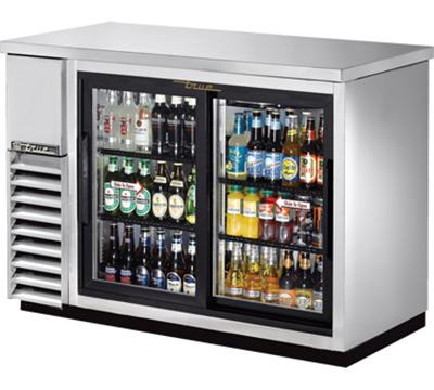 "True TBB-24-48G-SD-S-LD 48"" (2) Section Bar Refrigerator - Sliding Glass Doors, 115v"