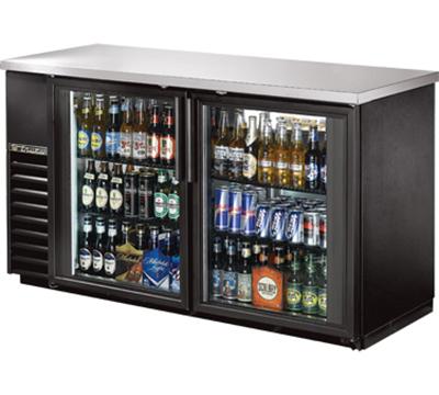 "True TBB-24-60G-LD 60"" (2) Section Bar Refrigerator - Swinging Glass Doors, 115v"