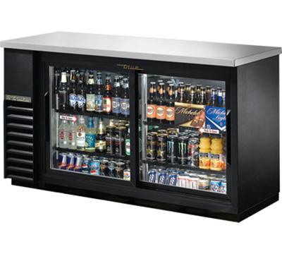 "True TBB-24-60G-SD-LD 60"" (2) Section Bar Refrigerator - Sliding Glass Doors, 115v"