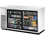 "True TBB-24-60G-SD-S-LD 60"" (2) Section Bar Refrigerator - Sliding Glass Doors, 115v"