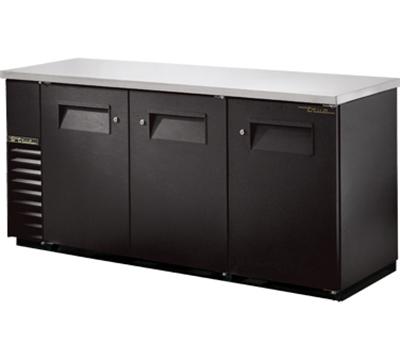 """True TBB-24-72 72"""" (3) Section Bar Refrigerator - Swinging Solid Doors, 115v"""