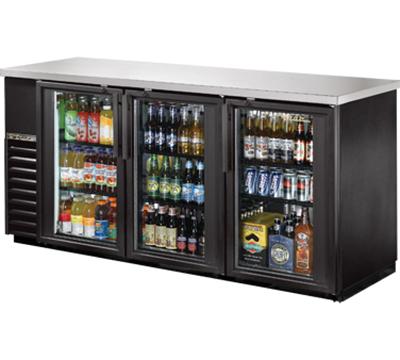 "True TBB-24-72G-LD 72"" (3) Section Bar Refrigerator - Swinging Glass Doors, 115v"