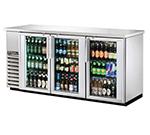"True TBB-24-72G-S-LD 72"" (3) Section Bar Refrigerator - Swinging Glass Doors, 115v"