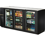 "True TBB-24GAL-72G-LD 72"" (3) Section Bar Refrigerator - Swinging Glass Doors, 115v"