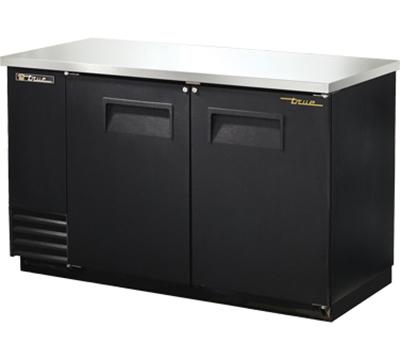"""True TBB-2 60"""" (2) Section Bar Refrigerator - Swinging Solid Doors, 115v"""