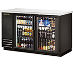 "True TBB-2G-LD 59"" (2) Section Bar Refrigerator - Swinging Glass Doors, 115v"