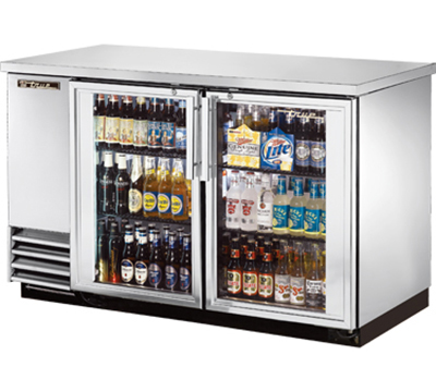 "True TBB-2G-S-LD 59"" (2) Section Bar Refrigerator - Swinging Glass Doors, 115v"