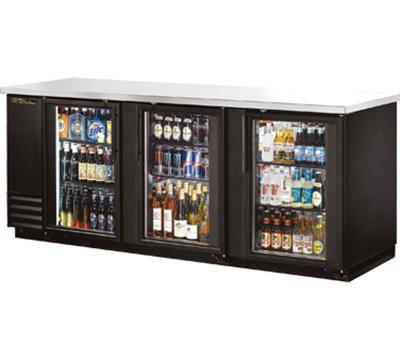 "True TBB-4G-LD 90"" (3) Section Bar Refrigerator - Swinging Glass Doors, 115v"