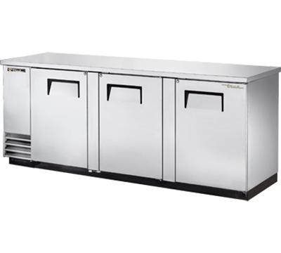 """True TBB-4-S 90"""" (3) Section Bar Refrigerator - Swinging Solid Doors, 115v"""