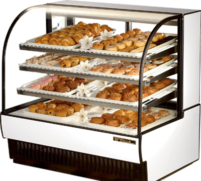 """True TCGD-50 WHT 50"""" Full Service Bakery Case w/ Curved Glass - (4) Levels, 115v"""