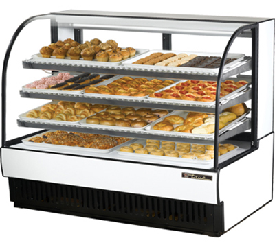 """True TCGD-59 WHT 59"""" Full Service Bakery Case w/ Curved Glass - (4) Levels, 115v"""