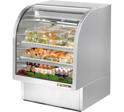 "True TCGG-36-S 36"" Full Service Deli Case w/ Curved Glass - (3) Levels, 115v"