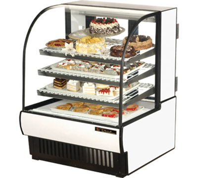 """True TCGR-36 36"""" Full Service Bakery Case w/ Curved Glass - (4) Levels, 115v"""