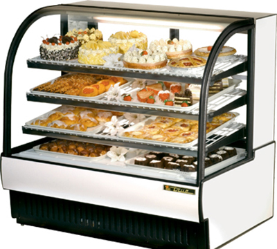 "True TCGR-50 50"" Full Service Bakery Case w/ Curved Glass - (4) Levels, 115v"