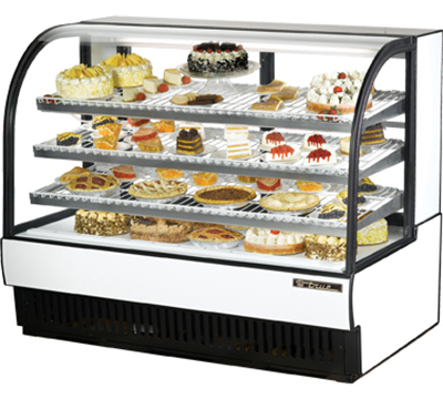 """True TCGR-59 59"""" Full Service Bakery Case w/ Curved Glass - (4) Levels, 115v"""