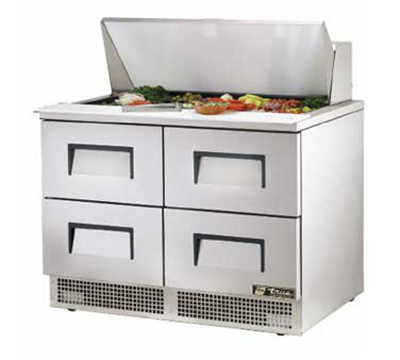 "True TFP-48-18M-D-4 48"" Sandwich/Salad Prep Table w/ Refrigerated Base, 115v"