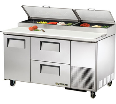 "True TPP-60D-2 60.25"" Pizza Prep Table w/ Refrigerated Base, 115v"