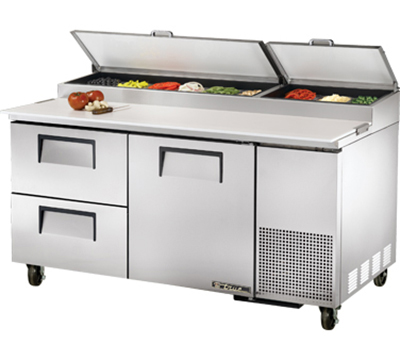 "True TPP-67D-2 67"" Pizza Prep Table w/ Refrigerated Base, 115v"