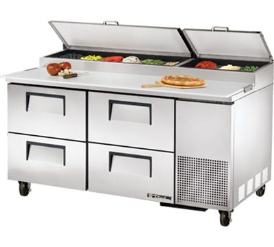 "True TPP-67D-4 67"" Pizza Prep Table w/ Refrigerated Base, 115v"