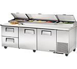 "True TPP-93D-2 93.25"" Pizza Prep Table w/ Refrigerated Base, 115v"