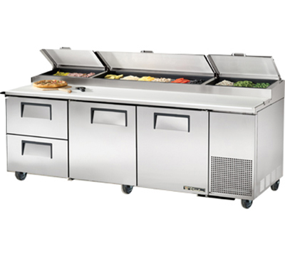 "True TPP-93D-2 93"" Pizza Prep Table w/ Refrigerated Base, 115v"